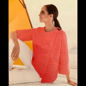 NWOT - PURE HANDKNIT, Pink Ribbed Cotton Cardigan
